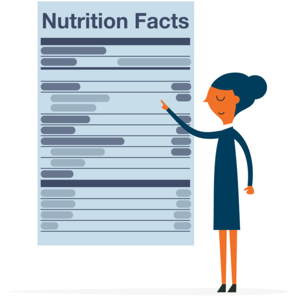 Image of someone pointing at a large set of nutrition facts.