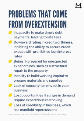 List of problems that can come from overextending yourself