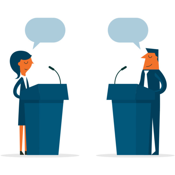 image of two people speaking from podiums.