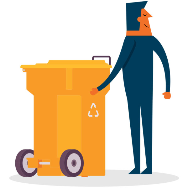 Image of someone standing next to a recycling bin.