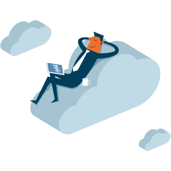 Image of someone that is laying on a cloud.