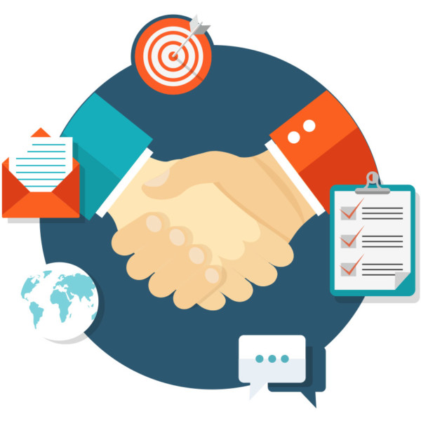 Animated image of shaking hands with various thumbnail image floating around