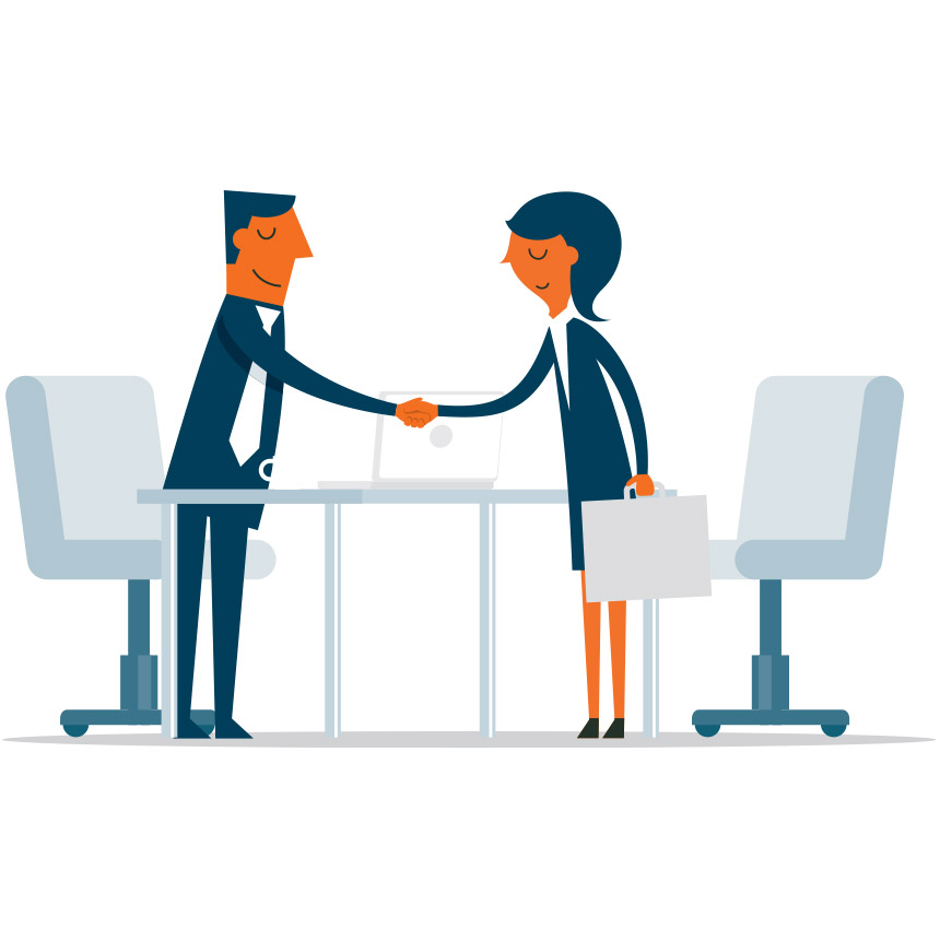 Animated image of 2 people shaking hands at a table