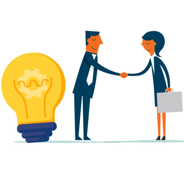 Animated people shaking hands next to a large light bulb
