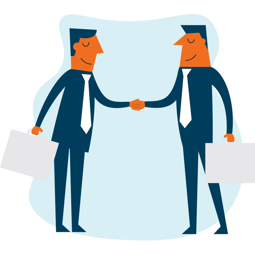 Animated image of 2 people shaking hands