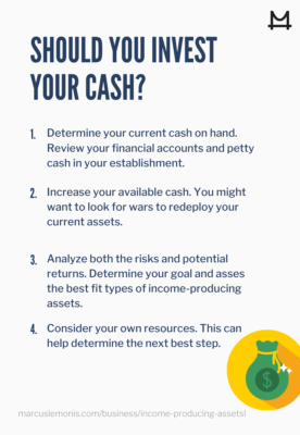 List of steps for turning cash into income-producing assets.