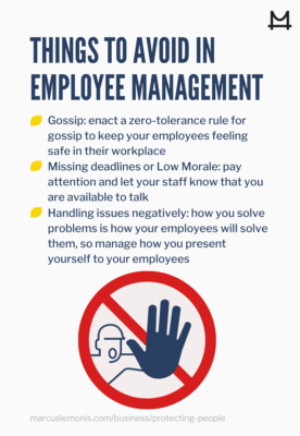 List of things to avoid in employee management.