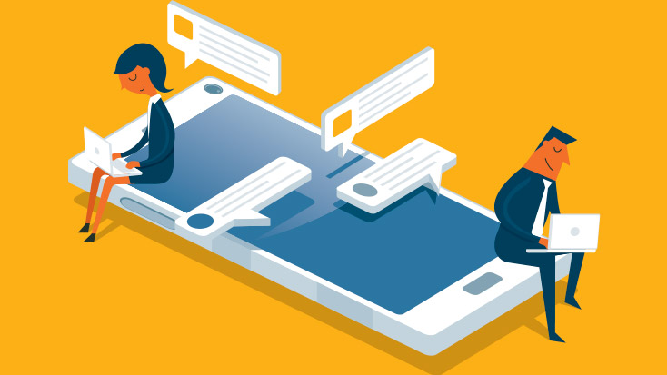 Animated image of 2 people sitting on a smartphone working on laptops.