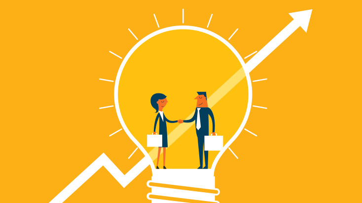 Image of two people shaking hands in a lightbulb.