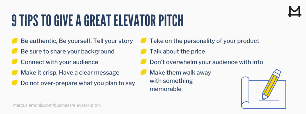 Nine tips for a great elevator pitch