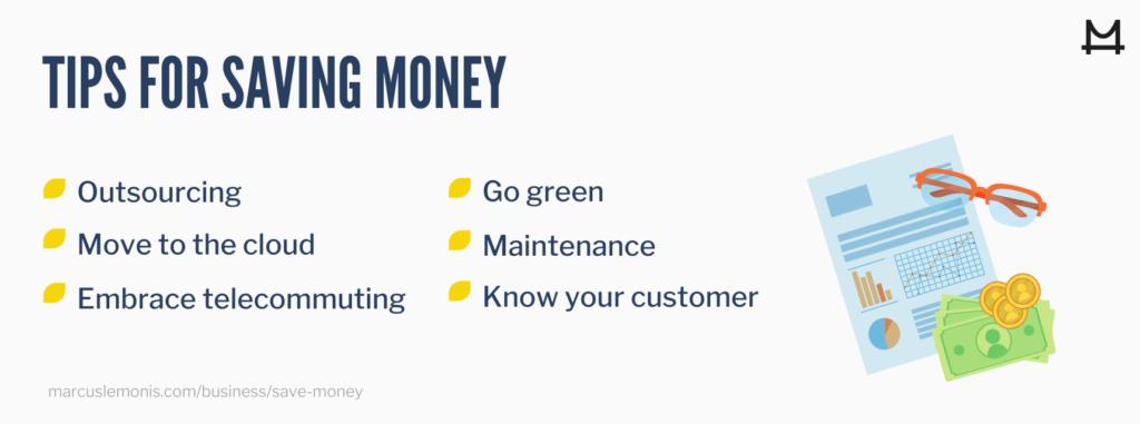List of tips for saving money.