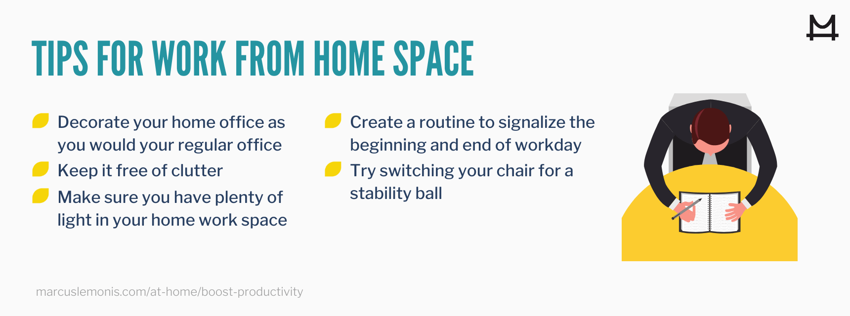 List of tips to help improve your work from home space