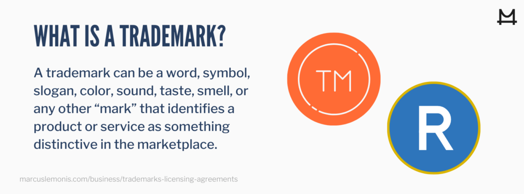 A trademark identifies a product or service as distinctive in the marketplace