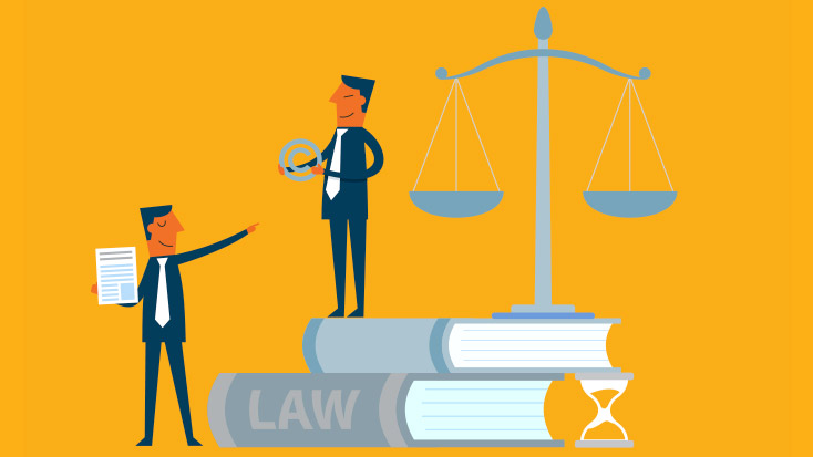 Animated image of people on law books showing trademarks & licensing agreements