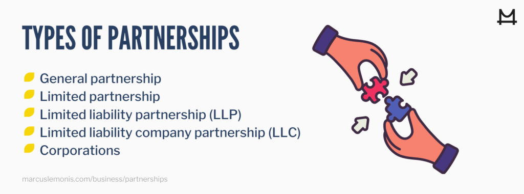 List of the types of partnerships