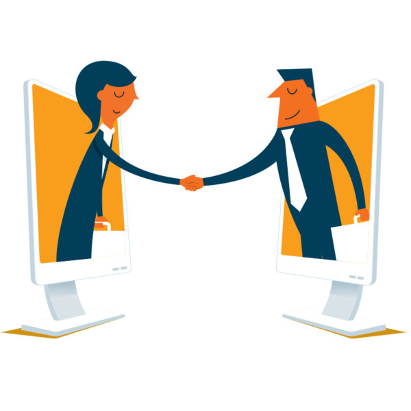 Animated image of 2 people coming out of a computer to shake hands.