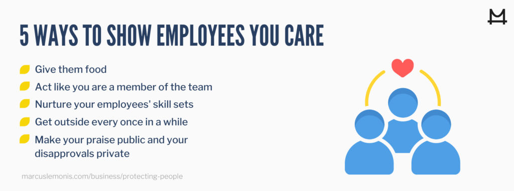 List of ways to show employees you care.
