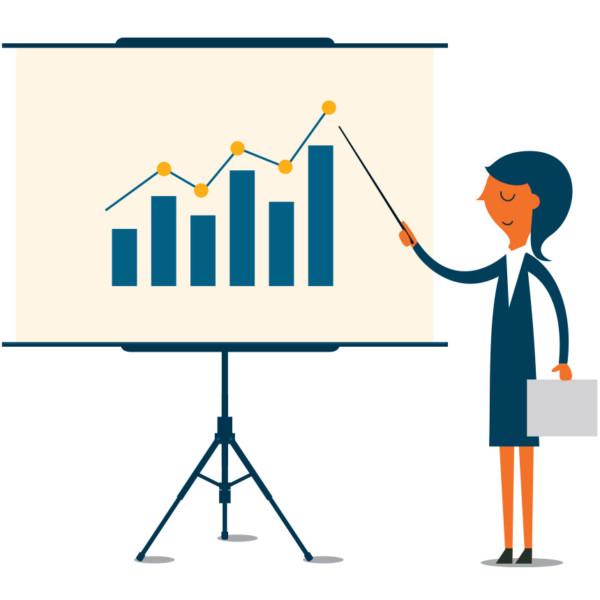 Women presenting business success from effective asset management