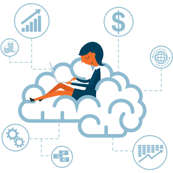 Women working in the cloud