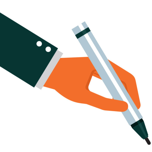 Image of a hand holding a pen and writing.