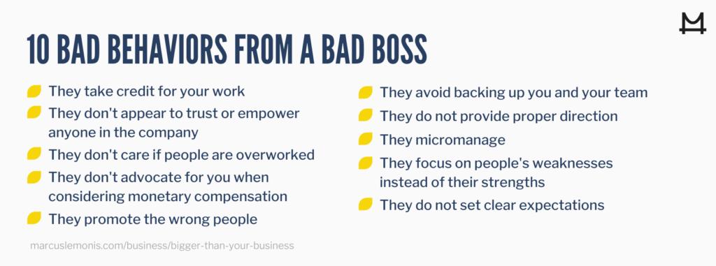 List of ten bad behaviors that are indicators of a bad boss
