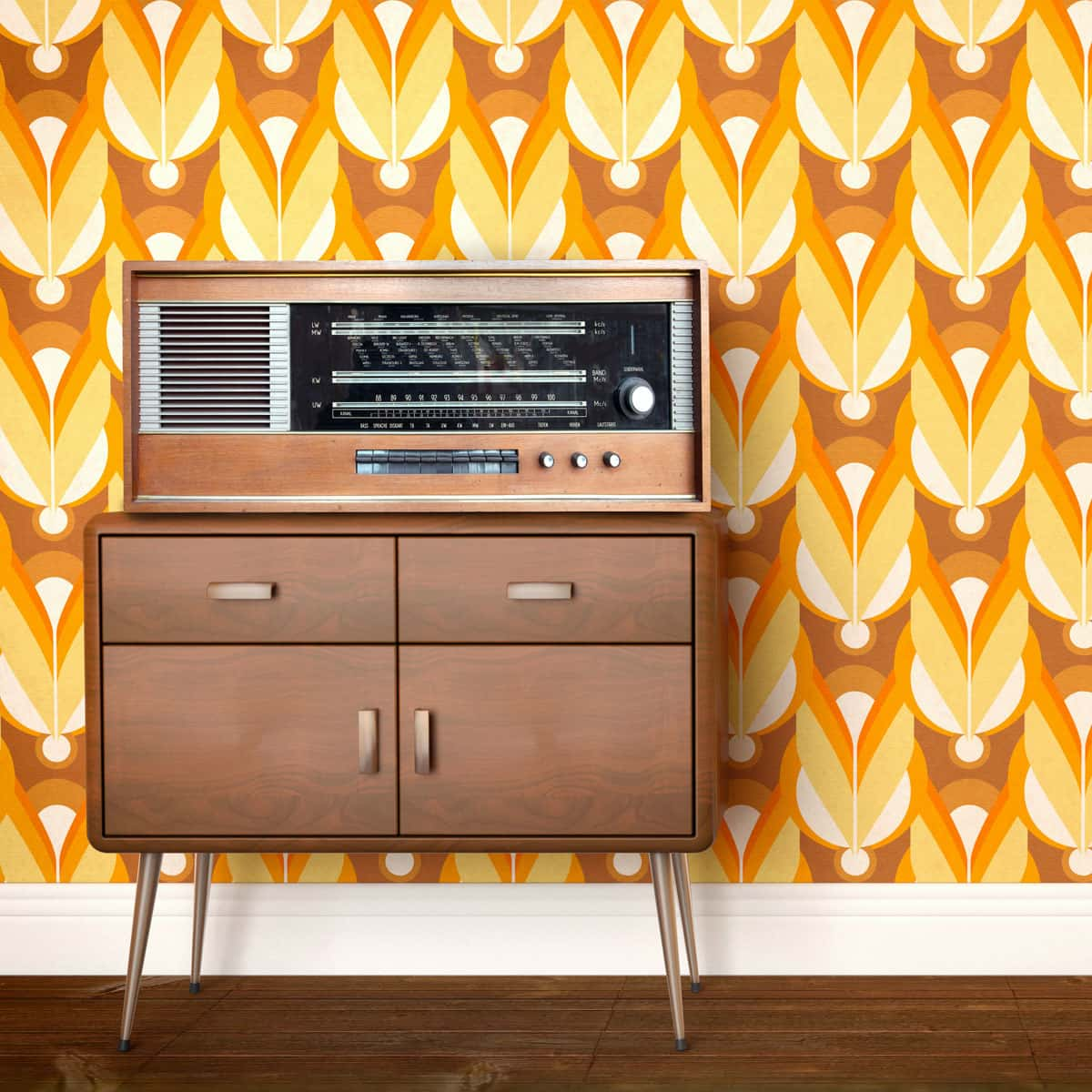 70s style side table against retro patterned wallpaper