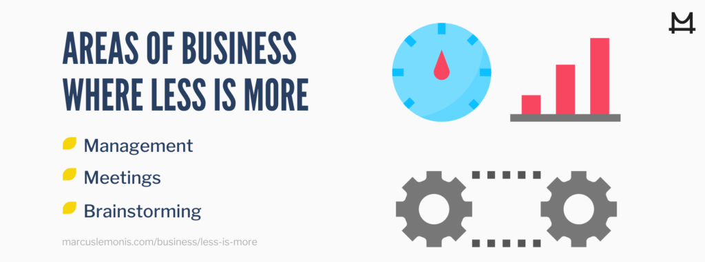 List of areas in business where less is more.