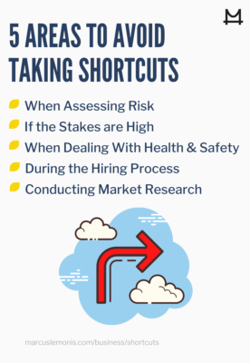 List of areas to avoid taking shortcuts.