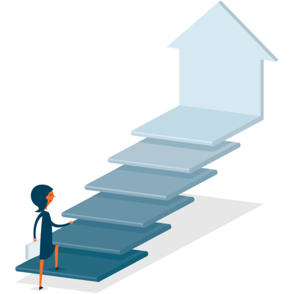 Image of someone walking up stairs that has an arrow pointing upward.