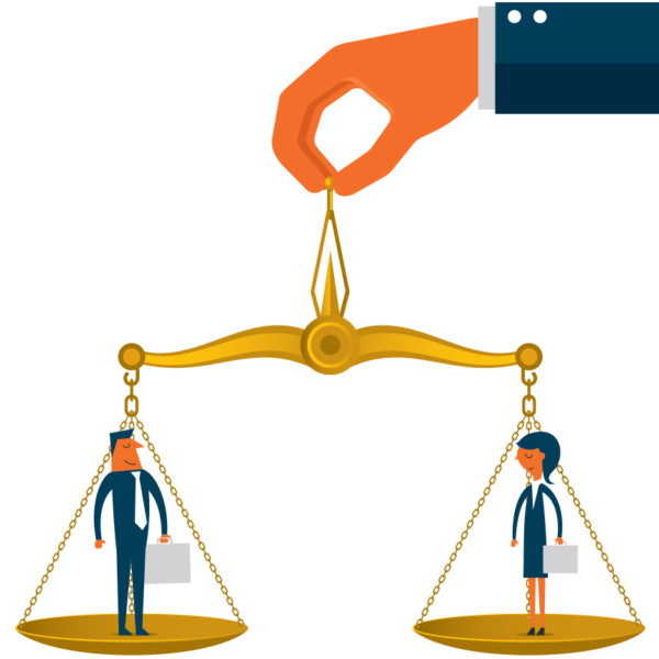 Image of two people on a scale that is balanced.