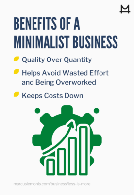 List of benefits to a minimalist business.
