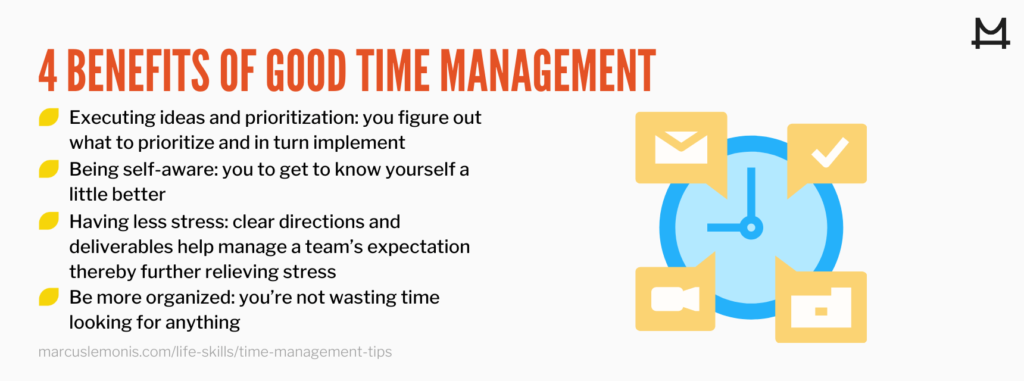 List of 4 benefits of good time management