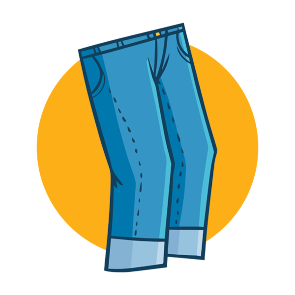 blue jeans with an orange background