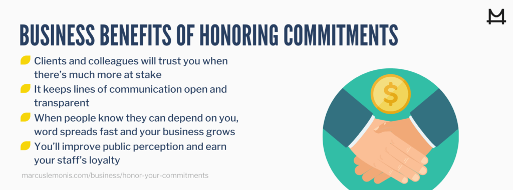 List of business benefits that can come from honoring your commitments
