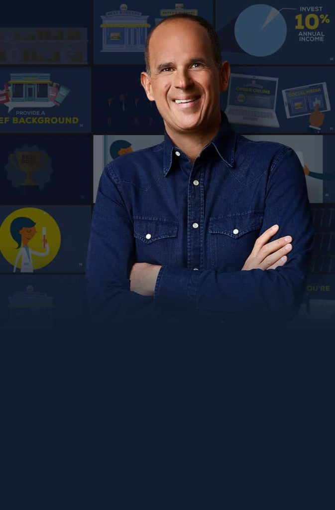 Image of Marcus Lemonis on a blue background with various images in the background.