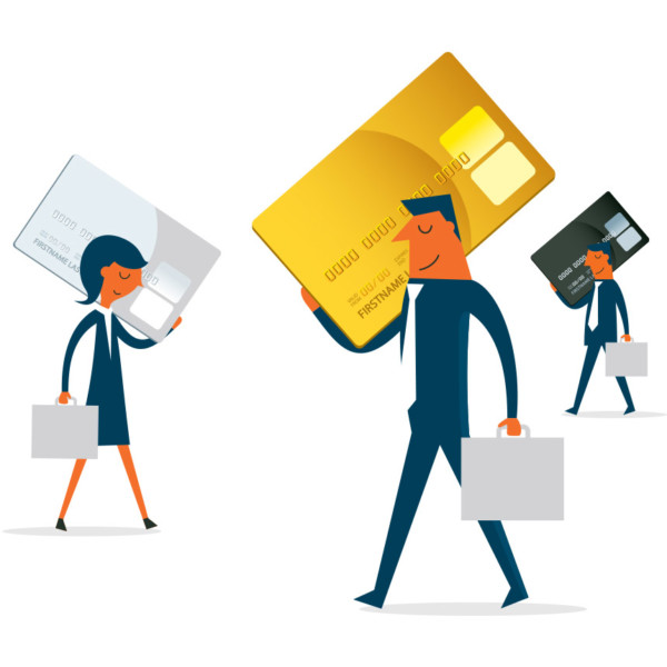 Business people carrying around credit cards