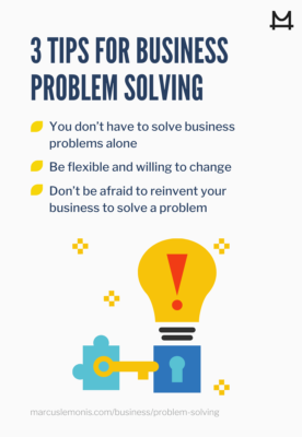List of three business problem solving tips