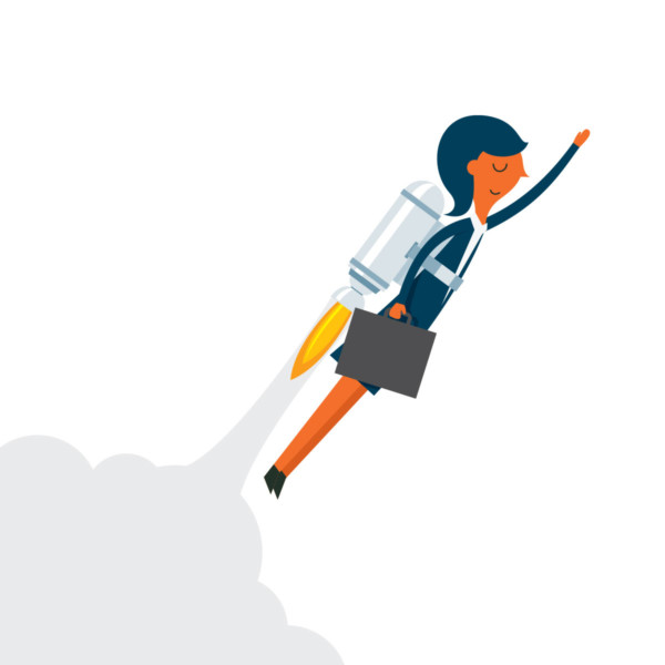 business women blasting off with a jetpack