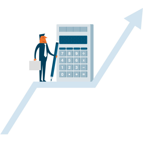 Image of someone standing on a rising arrow with a giant calculator and pencil.