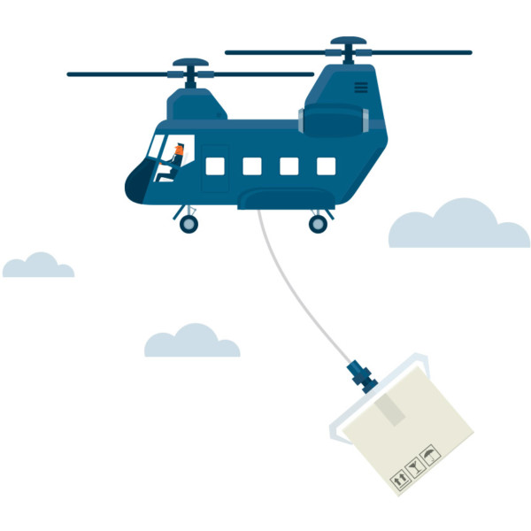 Image of a helicopter holding a package.