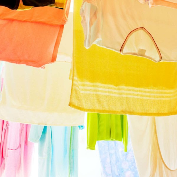 Clothes air drying outside for sustainability