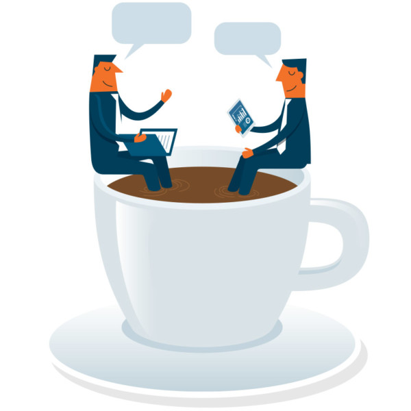 Image of two people talking while sitting in a large cup of coffee.