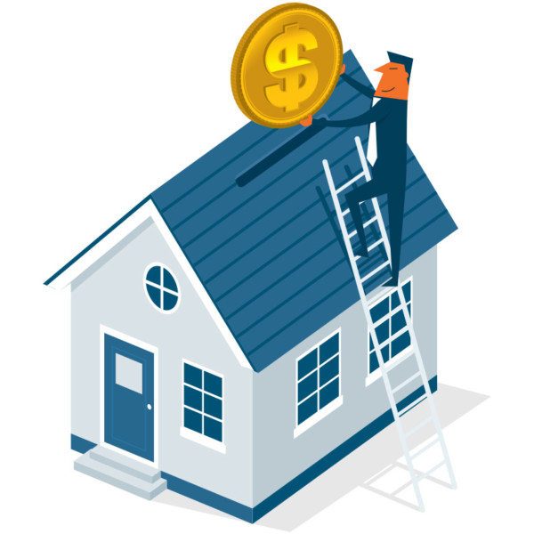Image of someone putting a coin in a house like a coin bank.