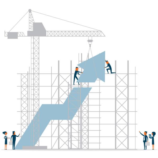 Image of people constructing an upward rising arrow.