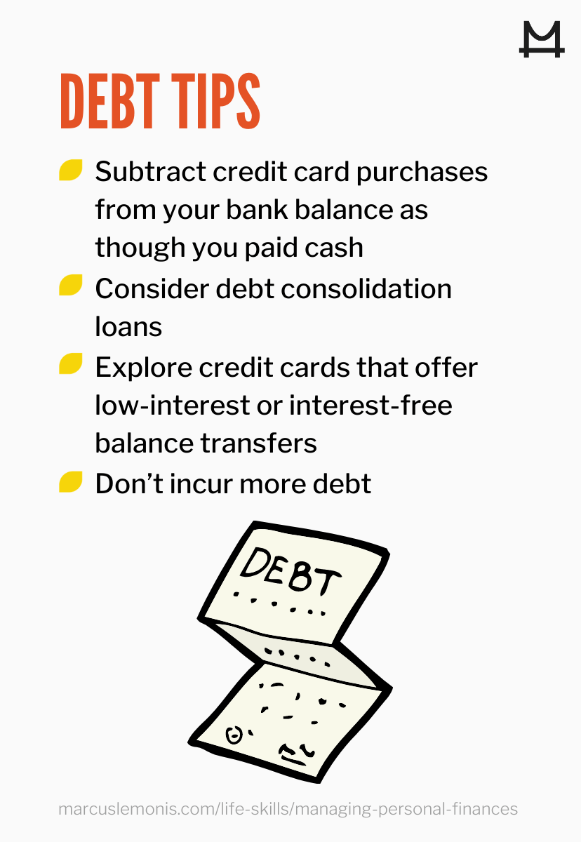 List of tips to deal with your debt