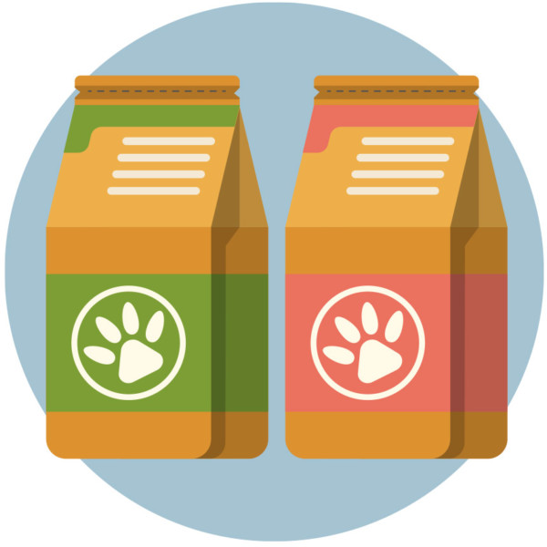 Image of two dog food bags.