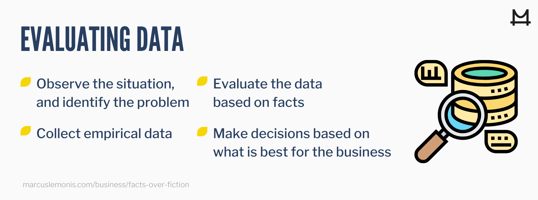 Steps to evaluating data.