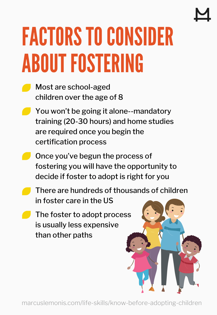 List of factors to consider about fostering.