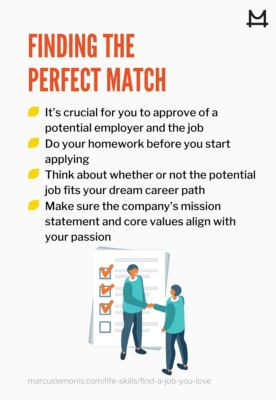 List of things to keep in mind when finding the perfect match in a job
