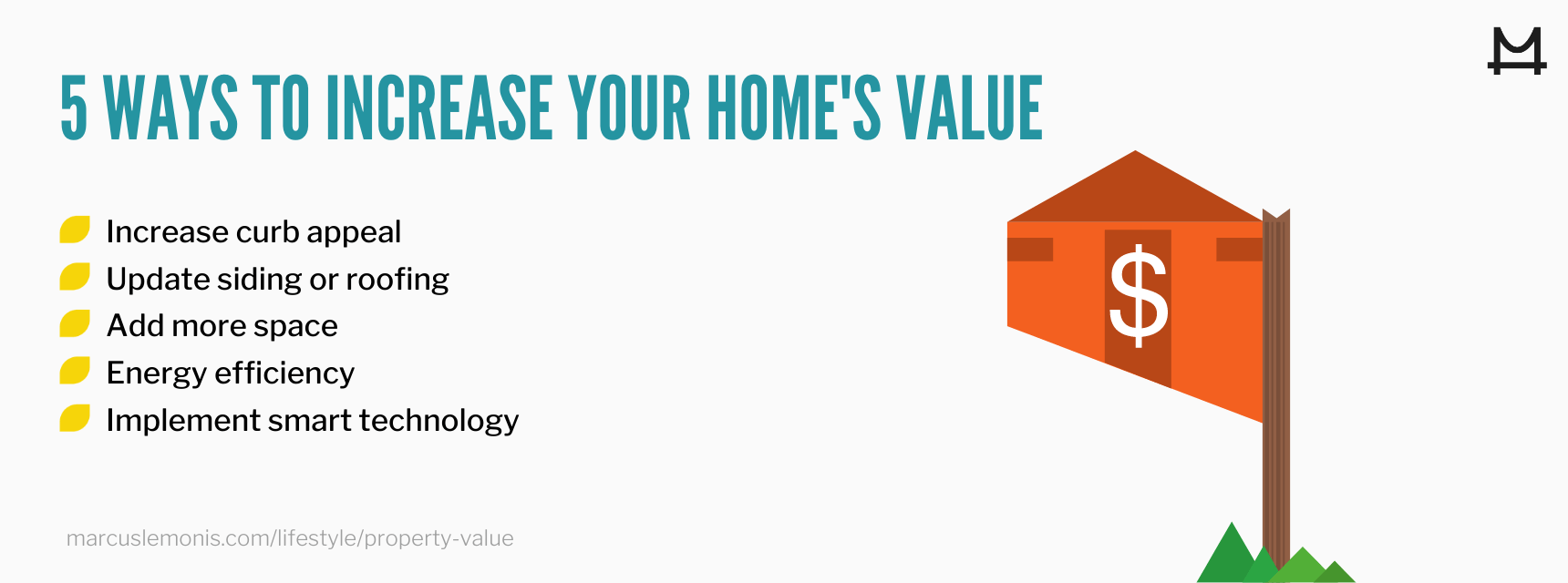 List of five actionable ways to increase the value of your home